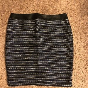 The Limited Black & Blue Stripped Pencil Skirt